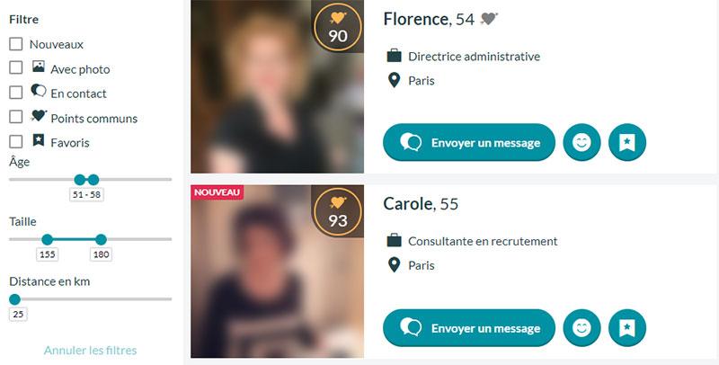 Profils de sites Web de rencontre